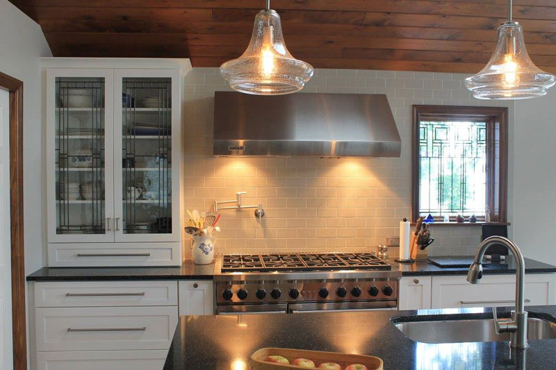 white cabinets with range