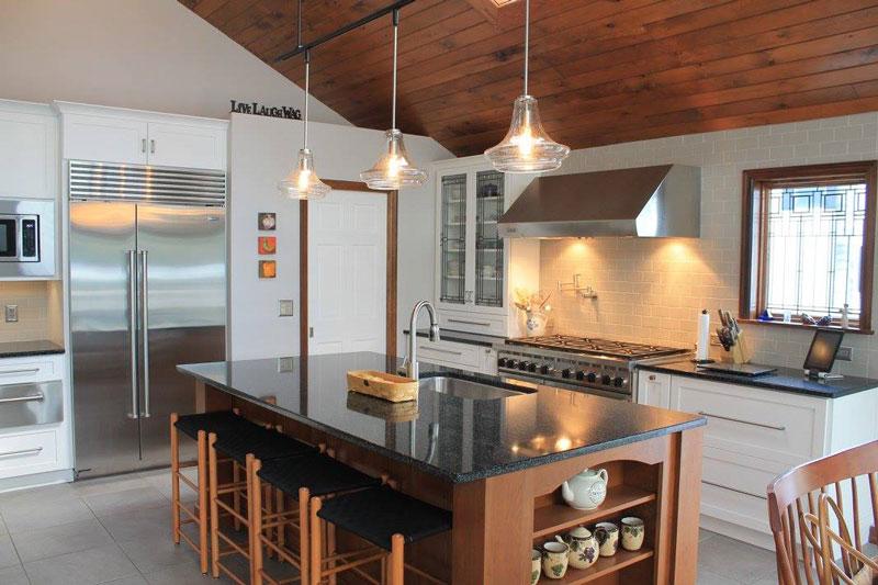 kitchen island with dark counter top