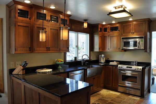 black kitchen countertop
