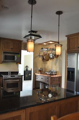 kitchen with dark counter top and appliances