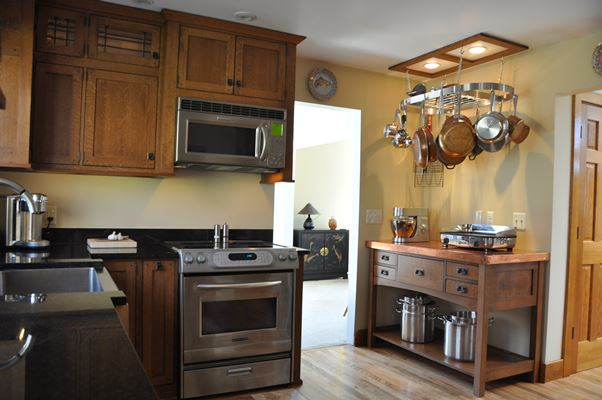 kitchen with wood cabinets and counter tops