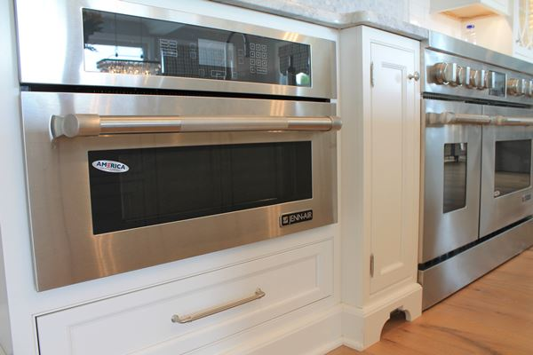 white counter with appliances