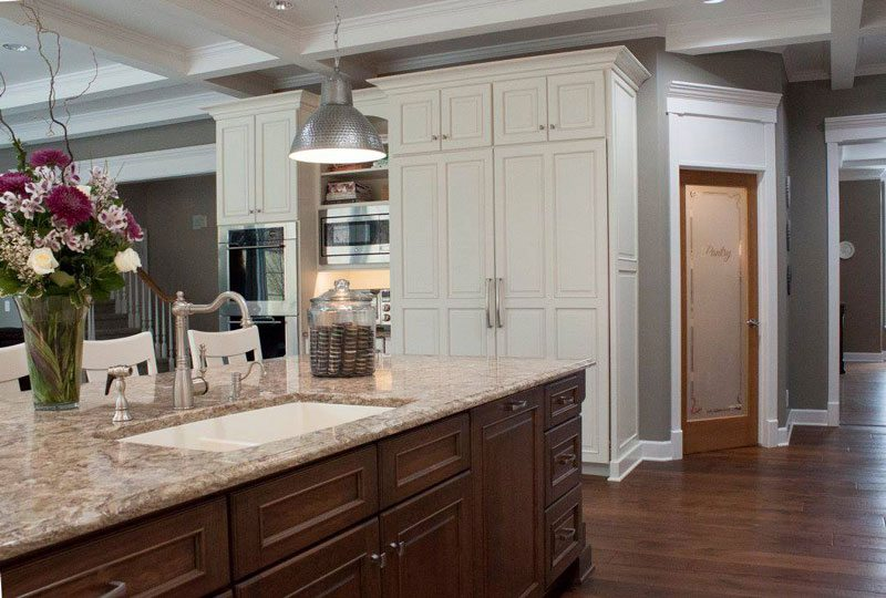 light kitchen cabinets and island